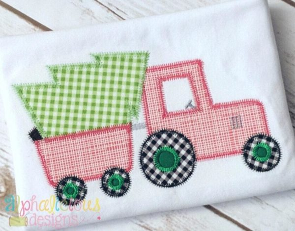 Oh Christmas Tractor- ZigZag-Applique Design