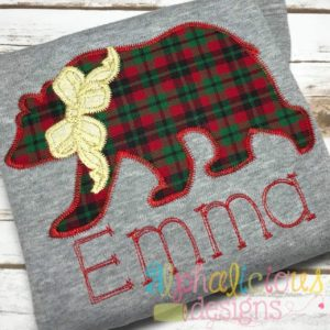 Black Bear with Bow Applique-Zig Zag