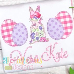 Easter Bunny Three In A Row Applique - Blanket