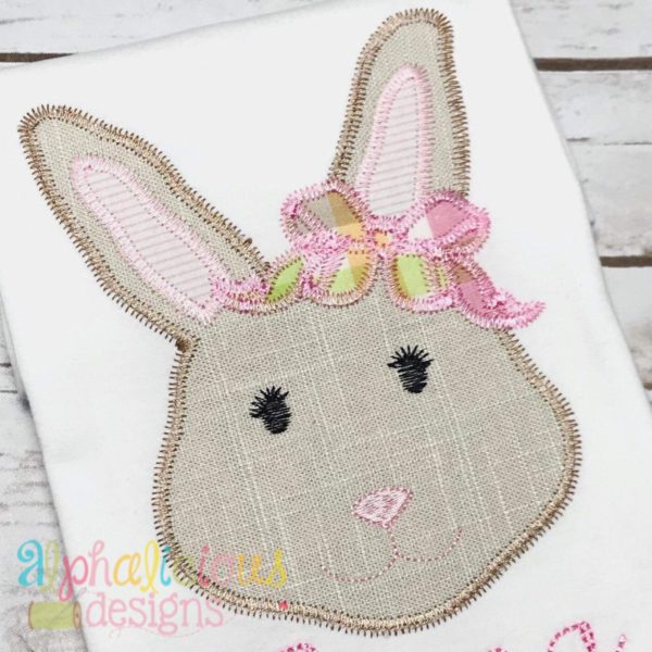 Mrs.Bunny with Bow Applique -ZigZag