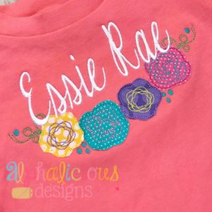 Floral Applique Swag- Triple Bean