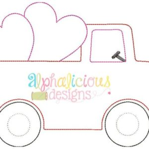 Valentine Truck Applique Design-Triple Bean