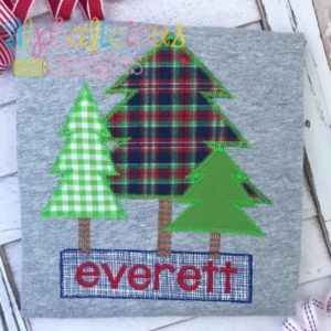 Woodlands Tree Trio Applique-ZigZag