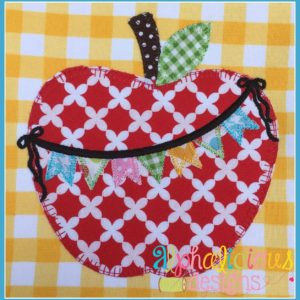 Apple with Bunting and Bow Applique Design