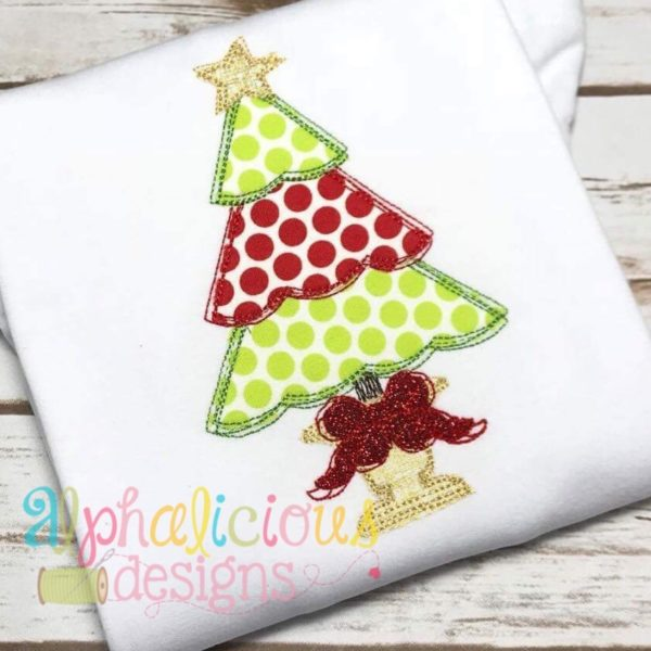 Fancy Scribble Holiday Tree- Applique