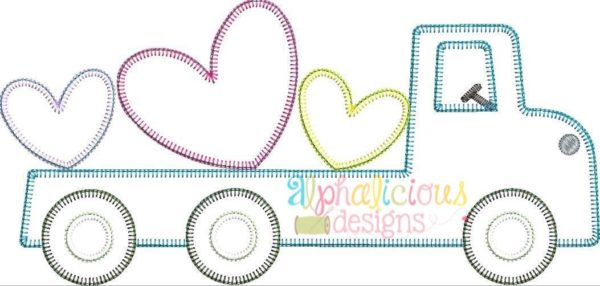 Flatbed Truck with Hearts Applique - Blanket