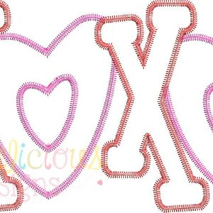 Valentine's XOXO Applique Design-ZigZag