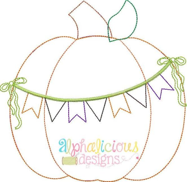 Holiday Pumpkin With Bunting Banner-Triple Bean Applique