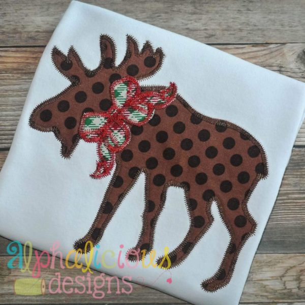Woodlands Moose with Bow Applique-ZigZag