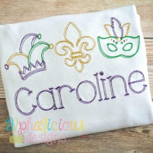 Mardi Gras Festival Vintage Scribble Embroidery
