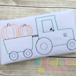 Vintage Pumpkin Patch Tractor Design