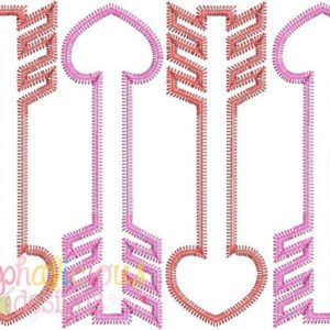Valentine's Arrow Applique Design - Zig Zag