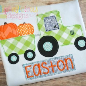 Pumpkin Patch Tractor- Triple Bean-Applique Design