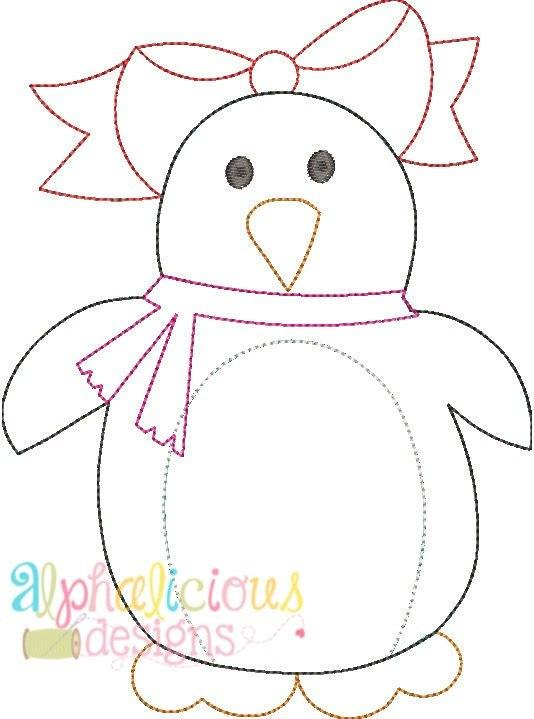 Winter Penguin Girl Applique Design-Triple Bean