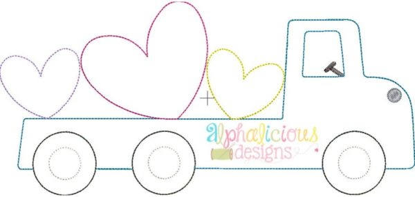 Flatbed Truck With Hearts Applique - Triple Bean