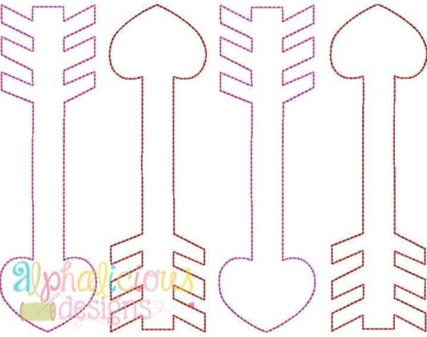 Valentine's Arrow Applique Design - Triple Bean