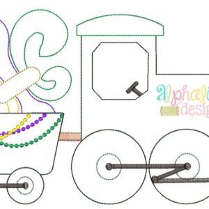 Mardi Gras Train Applique Design- Triple Bean