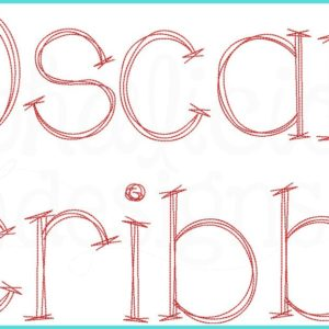 Oscar Scribble Vintage Embroidery Font