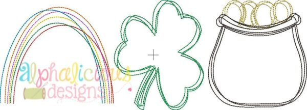 Luck of the Irish Three In A Row-Vintage Scribble Embroidery