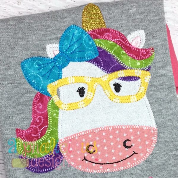 Magical Unicorn Girl with Glasses Applique- Blanket