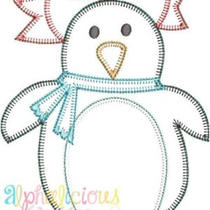 Winter Penguin Girl Applique Design- Blanket