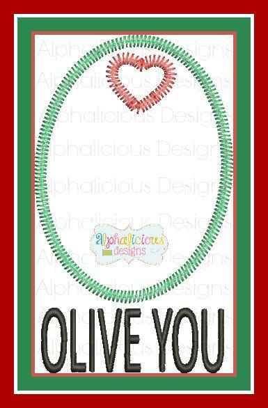 Olive You Applique  with Heart