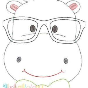 Mr. Happy Hippo Applique Design -Triple Bean