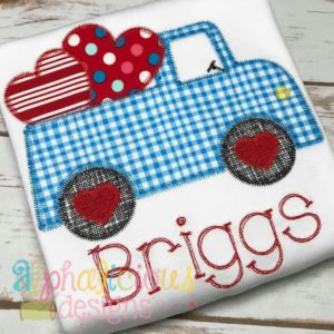 Valentine Truck Applique Design-ZigZag