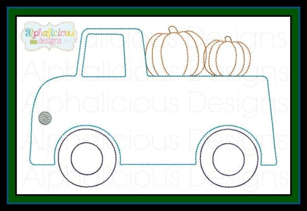 Vintage Truck with Pumpkin Embroidery