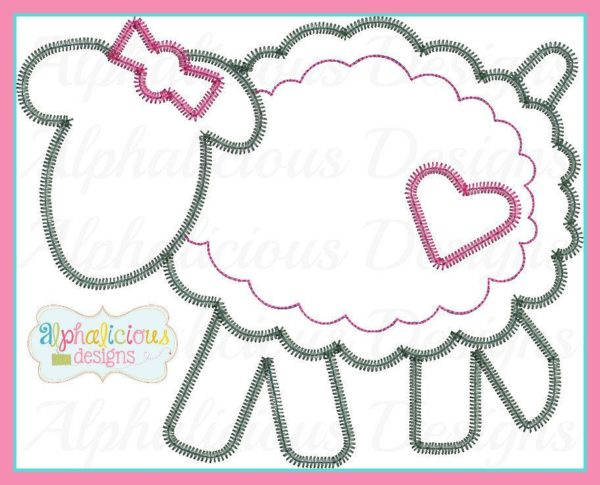 Sheep with a bow Applique