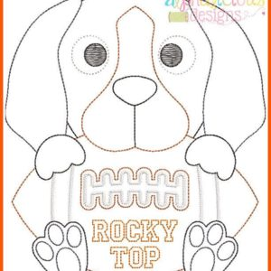 Hound Football Mascot Vintage Embroidery Design