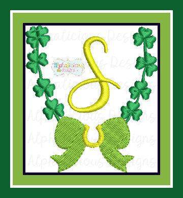 Saint Patty's Clover and Horse Shoe Monogram Frame MINI
