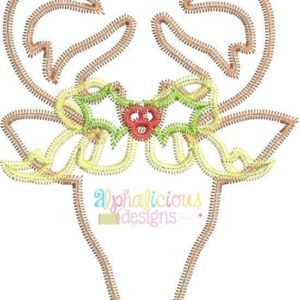 Simple Deer Head with Bow Applique-ZigZag