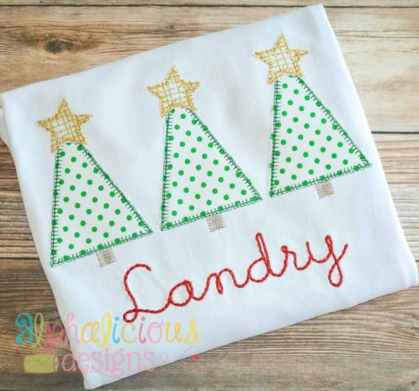 Holiday Star Tree Trio-Blanket-Applique