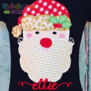Holly Jolly Santa-ZigZag-Applique Design