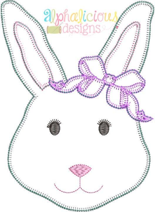 Mrs.Bunny with Bow Applique -Blanket