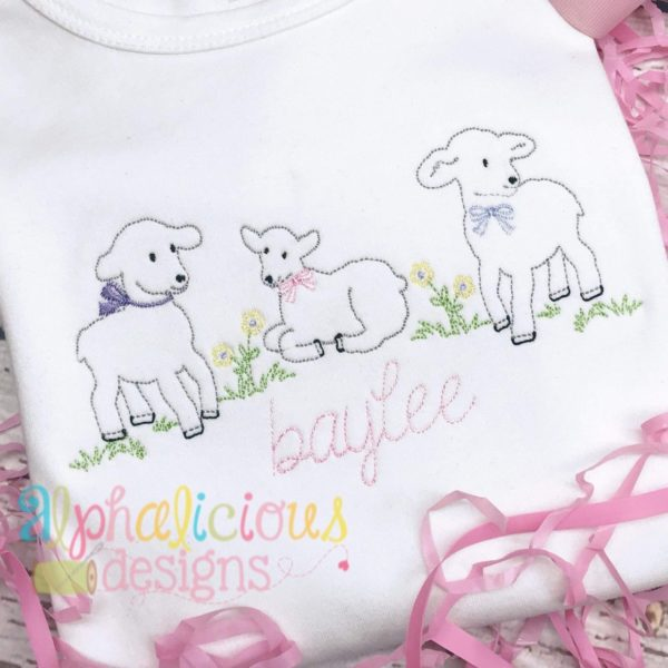 Sweet Little Lambs Vintage Embroidery