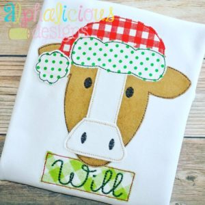 Santa Cow Applique-Triple Bean