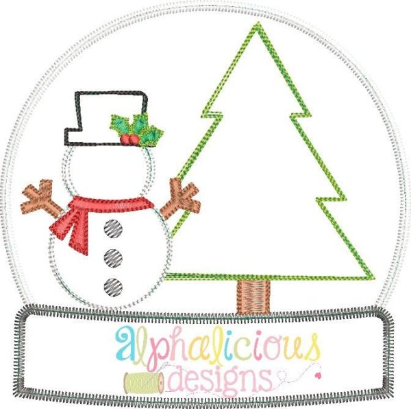 Winter Wonderland Full Applique Snow Globe- Zigzag
