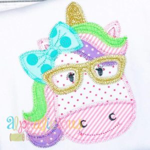 Magical Unicorn Girl with Glasses Applique- ZigZag