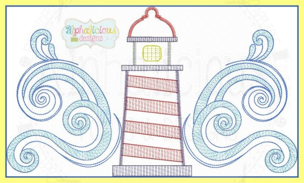 Crashing Waves Lighthouse Embroidery