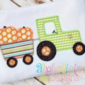 Pumpkin Patch Tractor- ZigZag-Applique Design
