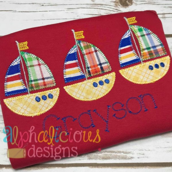 Sail Boat Three In A Row-Blanket