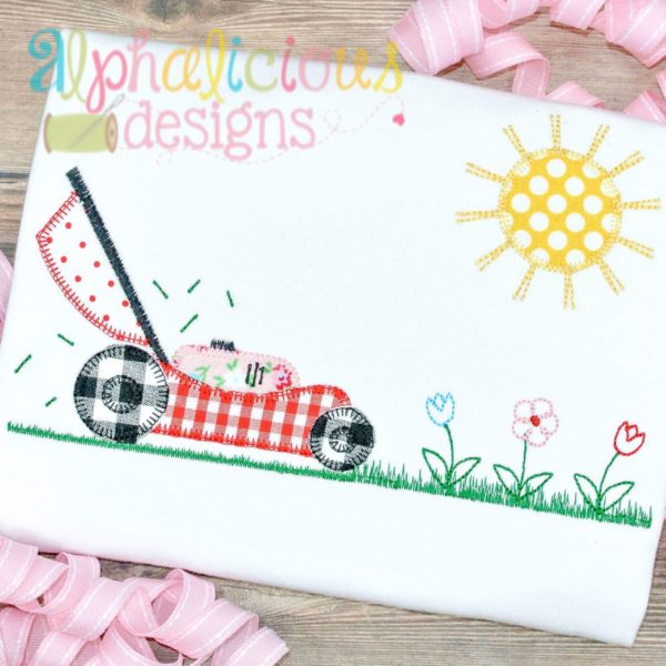 Lawnmower With Flowers Applique-Blanket