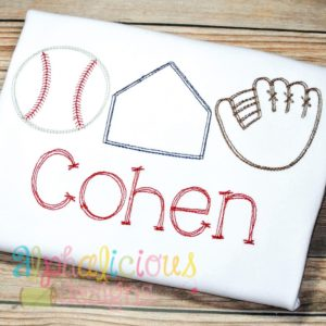 Vintage Scribble Baseball-Base-Glove- Three In A Row