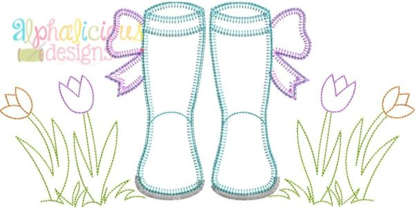 Springtime Rain Boots with Bows- Blanket
