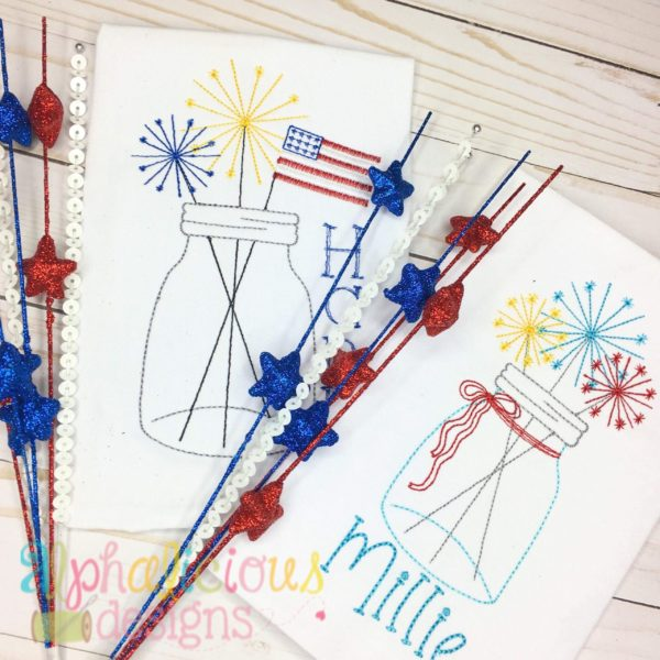 Vintage Mason Jar with Sparklers and Flag- Triple Bean
