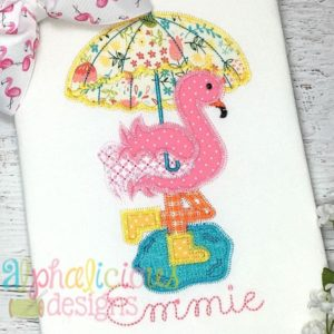 Rainy Day Flamingo Applique- ZigZag