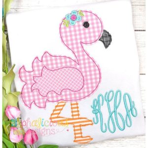Sweet and Sassy Flamingo Applique- Triple Bean