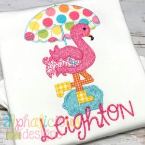 Rainy Day Flamingo Applique- Blanket